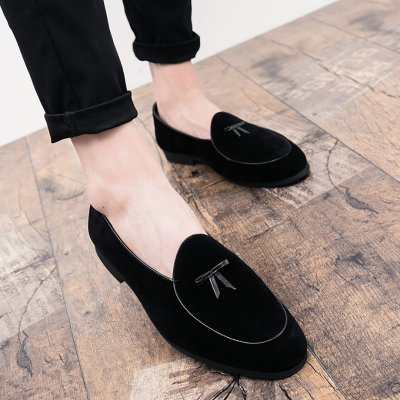 Men's simple bow tie foot casual bean shoes
