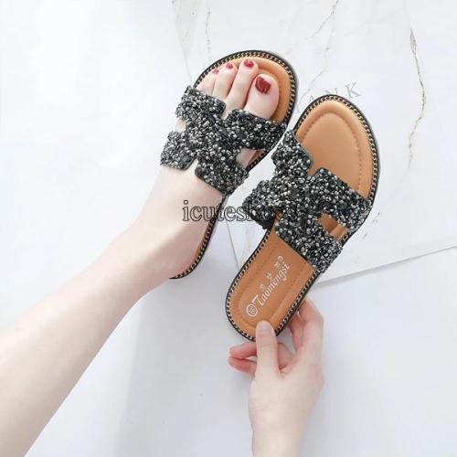 New Slippers Women's Fashion Sequins Upper Comfortable Flat Sandals Women's Versatile Wear Large H Slippers