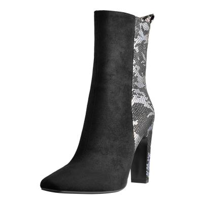 Pointed Toe Suede Squre Chunky Ankle Boots