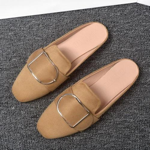 Spring and Autumn New Slippers Women Flat Square Leisure Cozy Muller Shoes