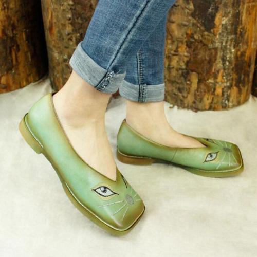 Light Green Square Toe Flats Cat Print