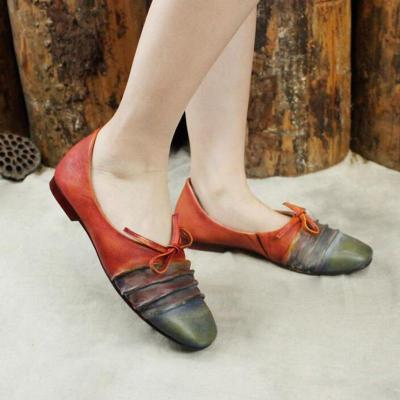 Vintage Casual Leather Women Flats