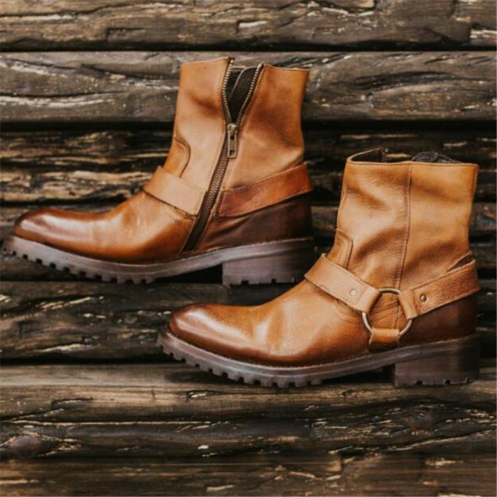 Men's Retro   Square With Low Heel Boots