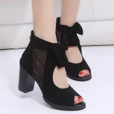 Peep Toe Bowknot High Chunky Heels Roman Sandals