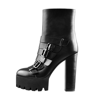 Platform Round Toe Buckle Strap Chunky High Heels Ankle Boots
