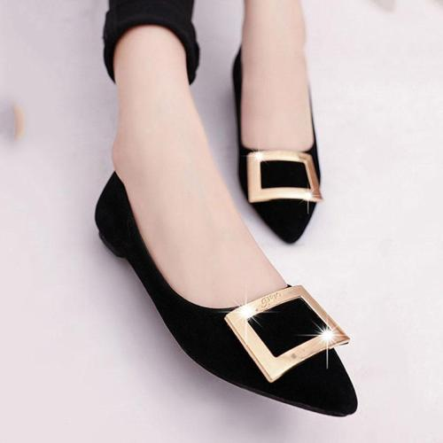 Plain  Flat  Faux Suede  Point Toe  Casual Flat & Loafers
