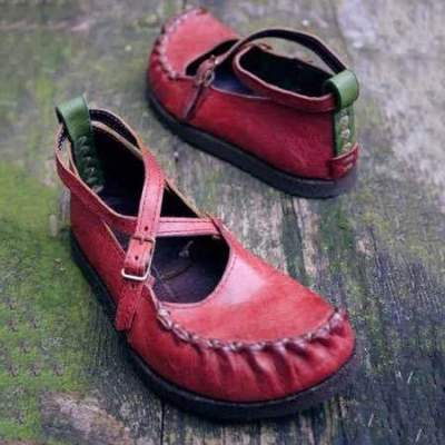 Vintage Pu Round Toe Buckle Loafers