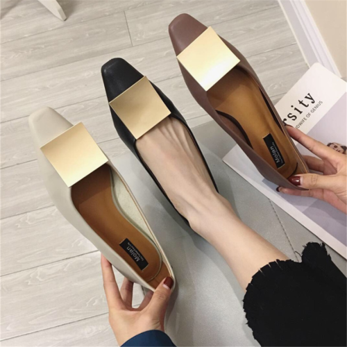 Square head soft leather metal buckle flat shoes