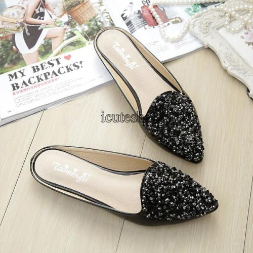 Sequins Fashion Sandals Patent Leather Rhinestone Sweet Flat Sandals Soft Shoes