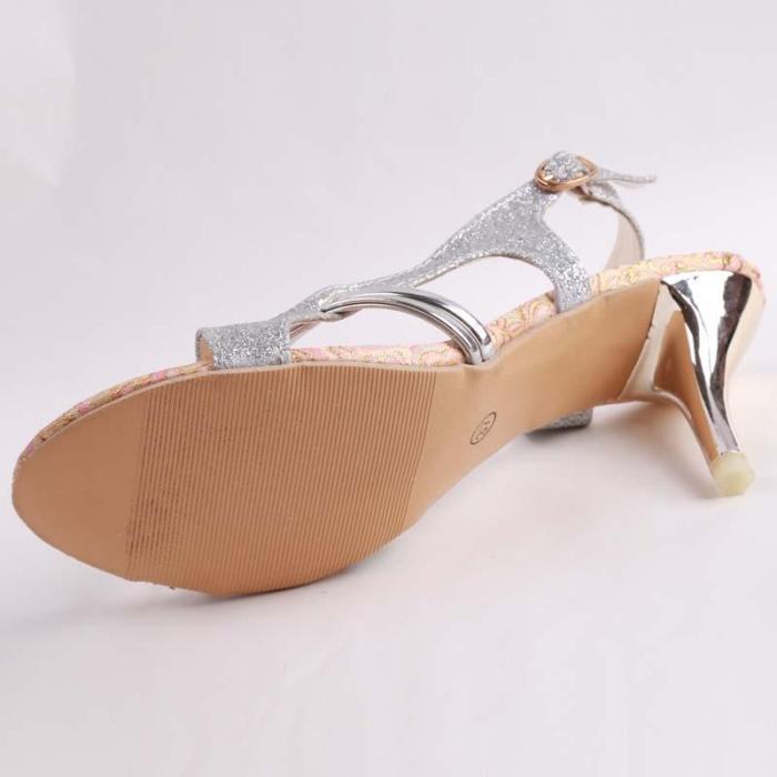 Thin High Heels Gladiator Heels Open Toe Hollow Out Bling Glitter PU Sandals