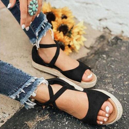 Flocking Cross-Band Low Heel Platform Women Sandals