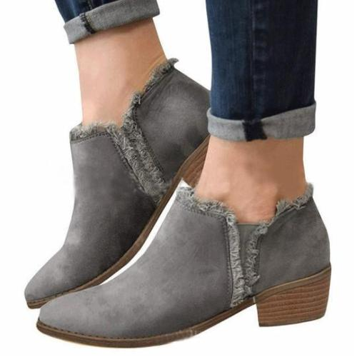 Plain Chunky Mid Heeled Velvet Round Toe Casual Date Ankle Boots