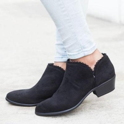 Women Booties Slip On Low Heel Ankle Plus Size Shoes