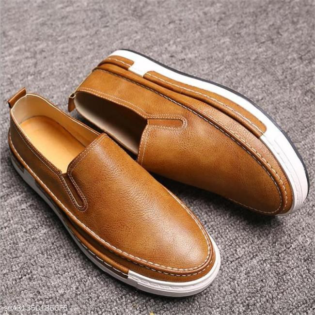 Fashion Youth Business Casual Plain Leather Men Shoes