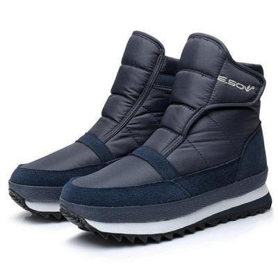 Men Plush Lining Waterproof Hook Loop Snow Men Boots