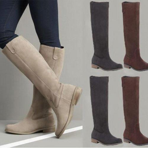 Women Plus Size Women Suede Knee-High Slip On Boots