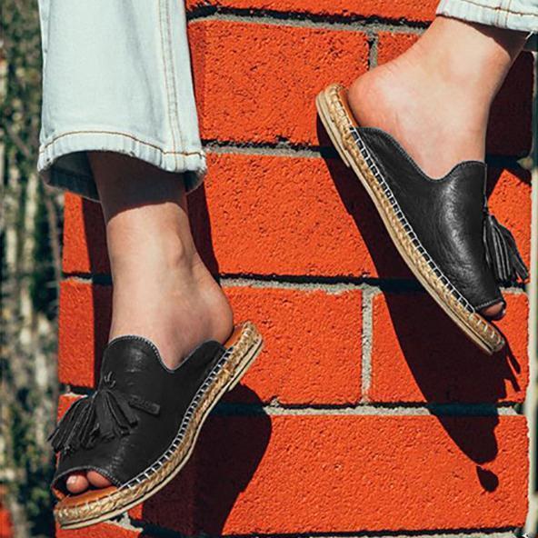 Tassle Pu Upper Straw-Weave Platform Flat Mule Sandals