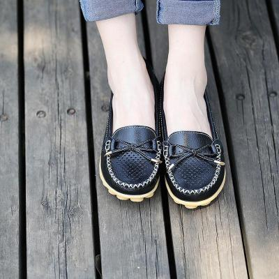 Female Cowhide leather Hollow Loafers