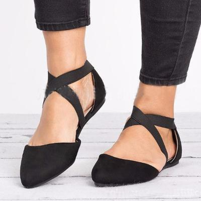Plain Cotton Fabric Ankle Strap Pointed Toe Casual Date Comfort Flats