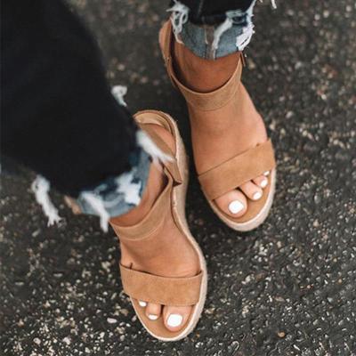 Women's PU Peep Toe Adjustable Buckle High Wedge Heel Sandals