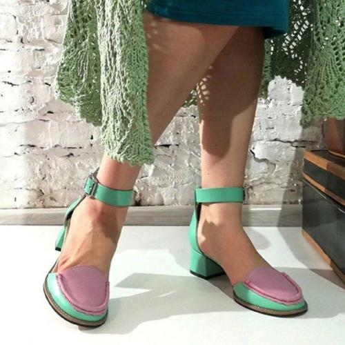 Closed Toe Ankle Strap Sandals Chunky Heel Summer Sandals