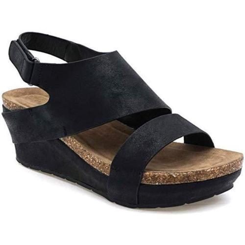 Pu Peep Toe Hollow Wedges Platform Hook&Loop Mule Sandals