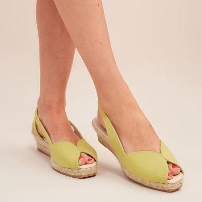 Women's Slip-On Wedge Heel Peep Toe Espadrille Sandals