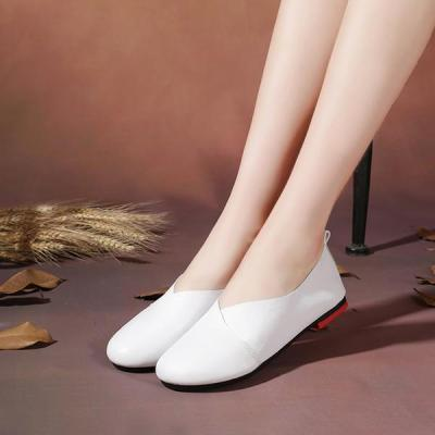 Large Size Pure Color Round Toe PU Slip On Vintage Casual Flat Loafers Shoes