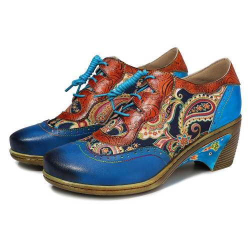Vintage Print   Color Matching Handmade High Heels
