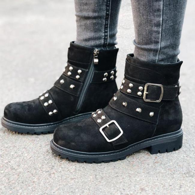 Black Suede Side-Zipper Rivet Ankle Boots