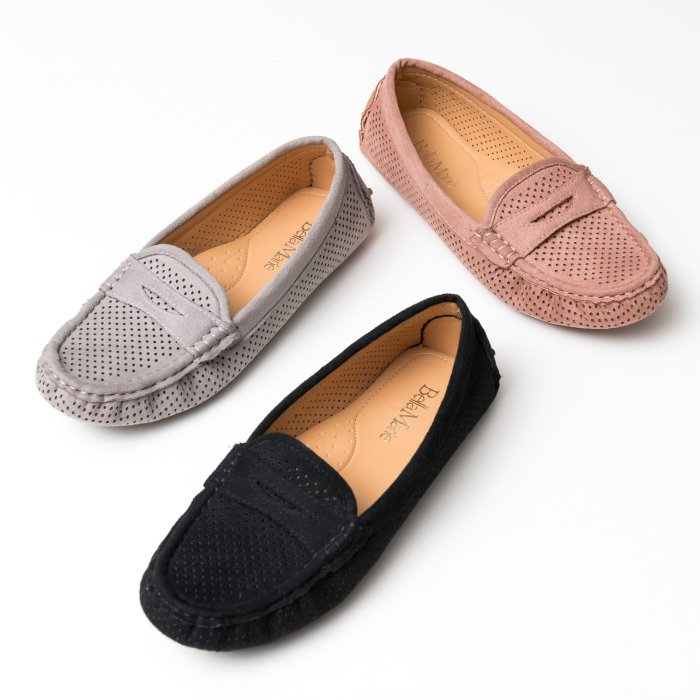 Perforated Grey Loafers Flats