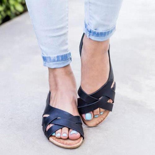Hollow Crisscross Strap Flat Gladiator Sandals