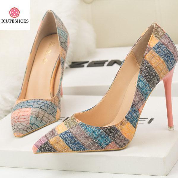 Mixed Colors Patchwork Women Super High Thin Pumps Fashion Slip-On Women
