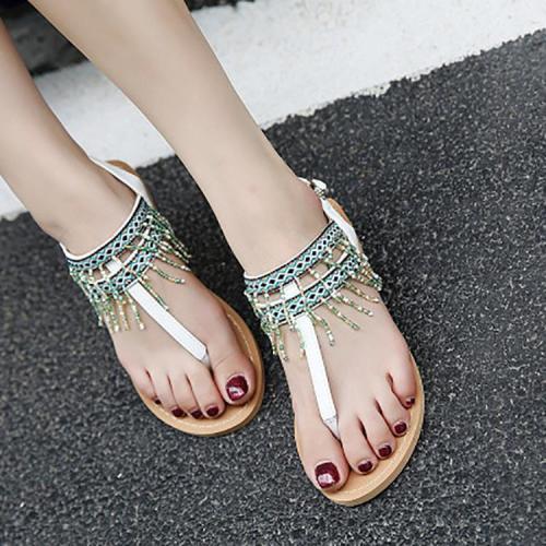 Bohemian Beaded Tassel Buckle Sandals