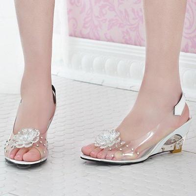 Rhinestone Flower Wedge Heel PVC Summe Sandals