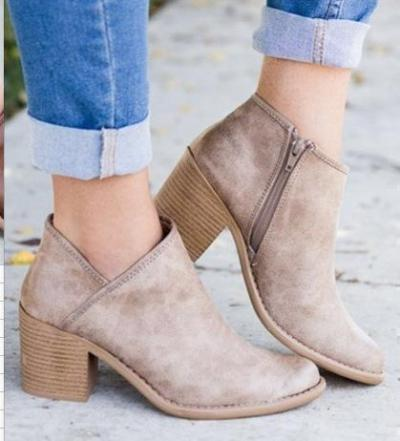 Women Elegant Thick Heel Zipper Boots