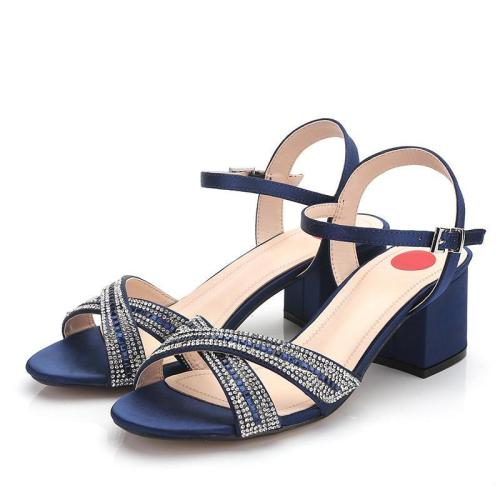 Chunky Heel Rhinestone Open Toe Date Sandals