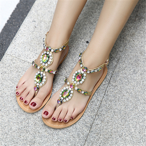 Colorful   Rhinestone Bohemian Flat Sandals