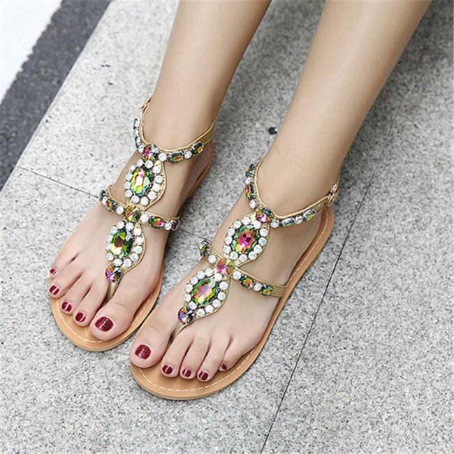 Colorful   Rhinestone Bohemian Flat Sandals