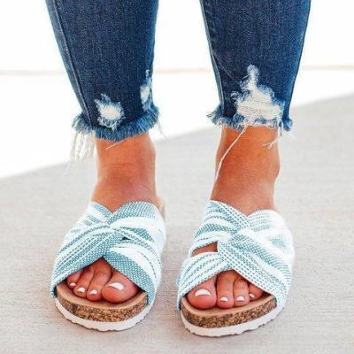 Cloth Upper Twist Flat Stripe Mule Sandals