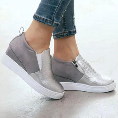 Scale Shape Pu Wedges Slip-On Casual Shoes