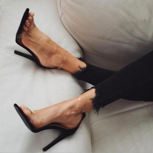 Women Platform Sandals Super High Heels Waterproof Transparent Crystal Shoes