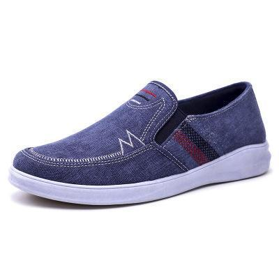 Mens Breathable Slip-on Canvas Flats Casual Driving Shoes