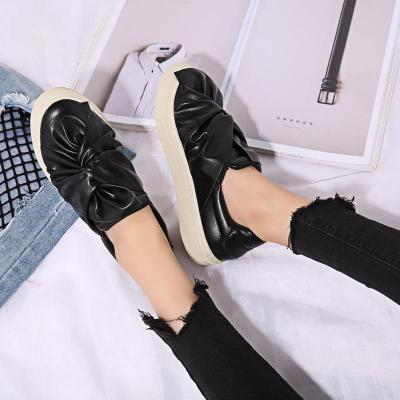 Bowknot Loafer Woman Shoes Fashion Flats Slip on Casual Shoes Artificial Leather Round Toe