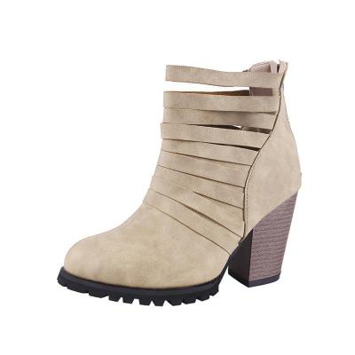 Women Hollow-out Chunky Heel Ankle Boots Casual Shoes