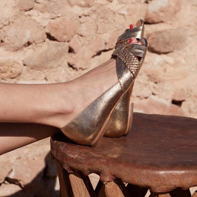 Elegant Bowknot Peep Toe Flats Shoes
