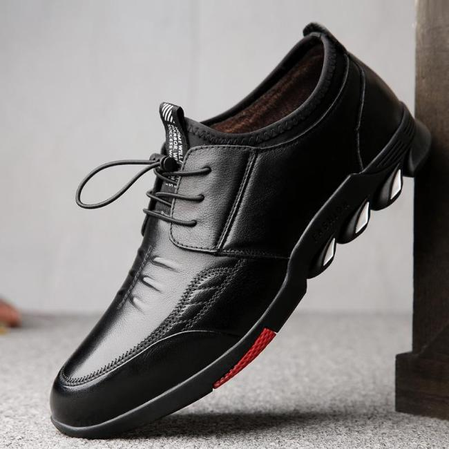 2018 New Plus Velvet Thick Casual Men's Leather Shoes
