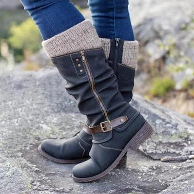 Sweat Knit Top Zipper Buckle Mi-Calf Pu Low Heels Boots