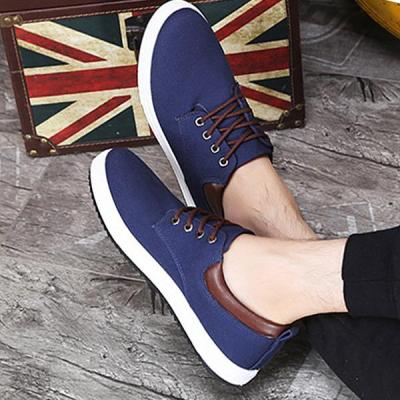 Mens Solid Color Canvas Lace Up Flats