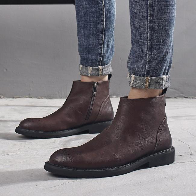 Casual Fashion Zipper Men Boots For Men
